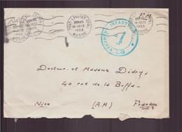 Maroc, Enveloppe En Franchise Militaire Du 14 Décembre 1955 De Port-Lyautey Pour Nice ( Cachet 92 Régiment Infanterie ) - Storia Postale