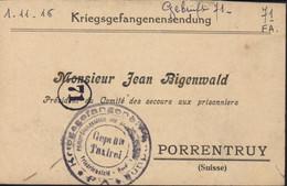 Guerre 14 Accusé Réception Colis Camp Friedrichsfeld 1 11 16 FM Pour Président Comité Secours Prisonniers à Porrentruy - Postmark Collection
