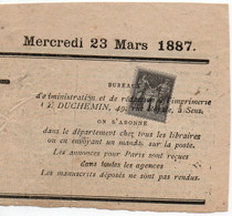 23 Mars 1887 - Type Sage 1c N°83 Oblitération Typographique Sur Partie De Journal (daté) De Sens Yonne - 1876-1898 Sage (Tipo II)
