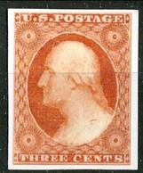 1851 US N. 4 C. 3 Arancio Bruno (Washington) Catalogo $ 2200 Bella Riproduzione - Ungebraucht