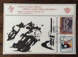 """MOTOCICLISMO - IMOLA  """"MOTO E AUTO NELLA FILATELIA""""  -. 1969  ERINNOFILO 47 G.P.N. AUTODROMO DI IMOLA - Advertising"""