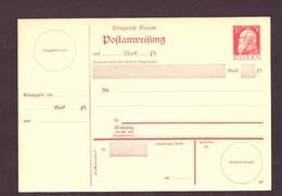 Ganzsache Postanweisung Bayern Ungebraucht - Interi Postali