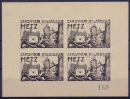 FRANCE :1938: Feuillet «Noir Sur Blanc» De 4 Vignettes/Cinderellas – MNH :  ## Exposition Philatélique – METZ ## - Expositions Philatéliques