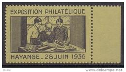 FRANCE :1936: Vignette/Cinderella – MNH : ## Exposition Philatélique HAYANGE ##: PHILATELY, - Expositions Philatéliques