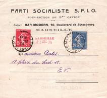RARE / PARTI SOCIALISTE SFIO  CONVOCATION ASSEMBLEE NON OUVERTE BAR MODERNE / MARSEILLE 1936 / MARCOPHILIE - Historical Documents