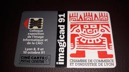 """CINÉCARTE PATHÉ  - N° 67 - """" IMAGICAD 91 """"  COLLOQUE 8,9 10 Oct LYON 1991 500EX  LUXE-NEUVE? - Entradas De Cine"""