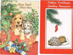 2 Cartes Chat Et Chien -cat And Dog -  Poes En Hond -katze Hund - Chats