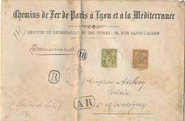 SAGE LETTRE RECOMMANDÉE 5è ECHELON ! N°82 + 80 Obl 15/5/00 CHEMINS DE FER PARIS LYON MEDITERRANÉE > Marcigny - 1877-1920: Semi Modern Period