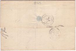 22829# LETTRE Au Dos RETARD DU CONVOI PARIS Obl ARRAS 1852 T15 TAXE DOUBLE TRAIT 25 - 1849-1876: Période Classique