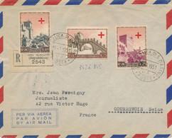 Italie CROCE ROSSA SAMMARINESE SAN MARINO 15/3/1951 Lettre Recommandée Avion > France Per Via Aerea - Via ROMA - Briefe U. Dokumente