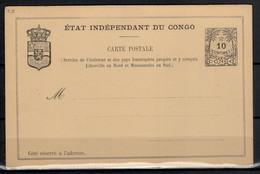"""EP Du Congo.  1892. N° 8 Neuf. Catalogue """"Les EP Du Congo Et Du Ruanda-Urundi"""" 1986 - Interi Postali"""