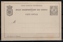 """EP Du Congo.  1892. N° 9 Neuf. Catalogue """"Les EP Du Congo Et Du Ruanda-Urundi"""" 1986 - Interi Postali"""