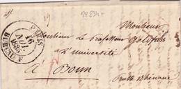22834# LETTRE Obl PARIS BUREAU F 1835 PP PORT PAYE F BONN PRUSSE RHENANE MULTIPLES POIDS ET TAXES BUREAU ECHANGE - 1801-1848: Precursors XIX