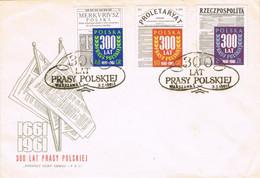 39443. Carta F.D.C. WARSZAWA (Polska) Polonia 1961. 300 Años Prensa Polaca. Prasy Polskiej - FDC