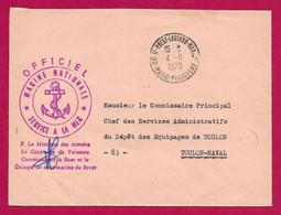 """Enveloppe Datée De 1970 - Marine Nationale - Oblitération """"Brest - Laninon - Marine - Nord Finistère"""" - Militärstempel Ab 1900 (ausser Kriegszeiten)"""