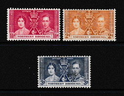 NORTHERN  RHODESIA    1937    Coronation    Set  Of  3    MNH - Nordrhodesien (...-1963)