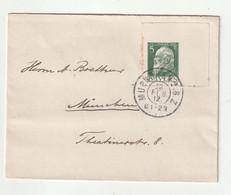 """Bayern - 1912 - Brief EF """"Ludwig III 5 Pfg."""" Ungezaehntes Eckrandstueck (Kartonpapier) Ex Muenchen (1/006) - Bayern (Baviera)"""