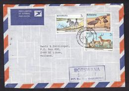 Botswana: Airmail Cover To Netherlands, 1987, 3 Stamps, Bird, Zebra, Deer, Animal (traces Of Use) - Botswana (1966-...)