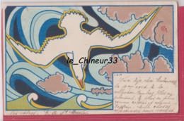 ILLUSTRATEUR COMBAZ----L'Air---Oiseau- Art Nouveau ----Pionniere - Combaz