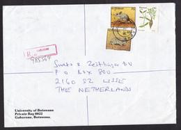Botswana: Registered Cover To Netherlands, 1996, 3 Stamps, Mouse, Animal, Plant (minor Damage) - Botswana (1966-...)
