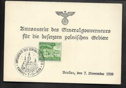 DR Generalgouvernement Schmuckkarte Krakau Amtsantritt Generalgouverneur - Militaria