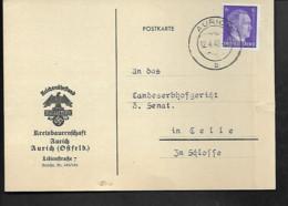 DR Postkarte Reichsnährstand Aurich - Nach Celle - Militaria