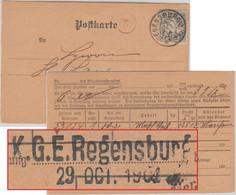 Bayern - K.G.E. Regensburg 29. OCT 1904 L2 Ortskarte/Frachtgutbenachrichtigung - Bavaria