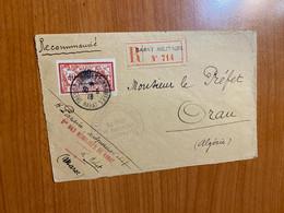 Lettre Militaire 1918 - Recommandée Rabat Militaire Pour Le Préfet D' Oran ( Voire Scan ) - Brieven En Documenten
