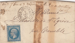 LETTRE. 9 DEC 63. N° 22. CàD DES AMBULANTS ST GERM.DES FOS. A PARIS. NEVERS POUR ST EGREVE - 1849-1876: Classic Period