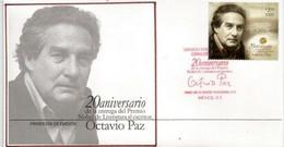 MEXIQUE. Octavio Paz, Poète, Essayiste Et Diplomate Mexicain.Prix Nobel Littérature 1990. FDC  Année 2010 - Schrijvers