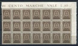 REGNO 1930 RECAPITO AUTORIZZATO 10 C. BLOCCO DA 21 ESEMPLARI** MNH - Paketmarken