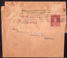 Argentina - Circa 1920 - Bande Postale - General San Martin - Club Alpinista Mendoza - 1/2 Ctv - A1RR2 - Cartas