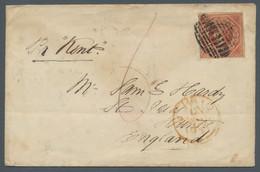 Neusüdwales: 1855, Königin Victoria, 1 Shilling Ziegelrot, Vollrandig (oben Links Minimaler Einschni - Briefe U. Dokumente