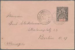 Französisch-Kongo: 1892 Postal Stationery Envelope Sent 1894 From Mayumba Via Libreville To Berlin - Non Classés