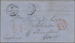 Natal: 1864 Stampless Cover From Durban (black Crown Cancel) Via London (red Paid Cancel) To York (b - Natal (1857-1909)