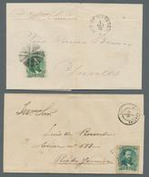 """Brasilien: 1866-1876, """"Kaiser Pedro II."""" 100 Reis Gezähnt Mit Korkstempelentwertung Und Danebengeset - Cartas"""