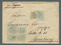 """Brasilien: 1884, Freimarke 500 Reis Oliv Gestempelt """"Santos 7.MAR 93"""" Zusammen Mit 5 Stück (davon Ei - Cartas"""