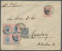 """Brasilien: 1894, Freimarken 10 Reis Im Viererblock, 50 Reis Und 100 Reis Entwertet """"Est. De Santos 2 - Cartas"""