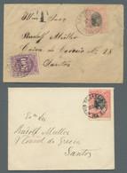"""Brasilien: 1894, Freimarke 100 Reis Entwertet """"Santos 25.Jan.00"""" Als Ortsbrief Mit Reparierten Einri - Cartas"""