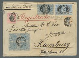 """Brasilien: 1894, Freimarke 500 Reis Blau/schwarz Im Waagerechtem Paar Entwertet """"Est. De Santos 23.N - Cartas"""