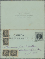 Canada - Ganzsachen: 1896, Two Postal Stationery Letter Cards 1c Black With Additional Franking Four - 1903-1954 Reyes