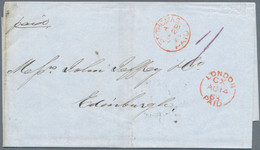 "Dänisch-Westindien: 1863, ""ST. THOMAS PAID"" Red Circle Postmark On Folded Letter Via London (red ""Lo - Danemark (Antilles)"