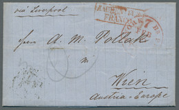 Vereinigte Staaten Von Amerika - Vorphila / Stampless Covers: 1860, Transatlantik-Brief Mit Vollstän - …-1845 Vorphilatelie