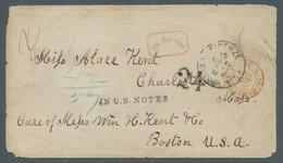 Vereinigte Staaten Von Amerika - Vorphila / Stampless Covers: 1867, Briefhülle Aus Florenz Nach Bost - …-1845 Vorphilatelie