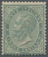 """Italien: 1863, """"König Viktor Emanuel II."""" 5 Centesimi Grauoliv In Guter Ungebrauchter Erhaltung. Die - Ungebraucht"""