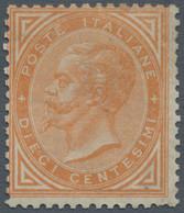"Italien: 1863, 10 Cents Ochre Yellow ""De La Rue"", Turin Printing, MNH, Dr. Avi Certificate (2002). S - Ungebraucht"
