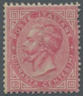 """Italien: 1863, """"König Viktor Emanuel II."""" 40 Centesimi Karmin In Guter Ungebrauchter Erhaltung. Die - Ungebraucht"""