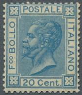 """Italien: 1867, """"König Viktor Emanuel II."""" 20 Centesimi Blau In Guter Ungebrauchter Fatbfrischer Erha - Ungebraucht"""