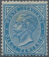 Italien: 1877. 10 C Blue. Discrete Centering, Mint With Original Gum, One Short Perf, Tone Hinged (v - Ungebraucht