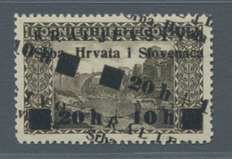 """Jugoslawien: 1919, """"Kriegsbeschädigten"""" 20 Heller Schw'braun Mit Doppeltem Bzw. Einmal Normalem Und - Ungebraucht"""